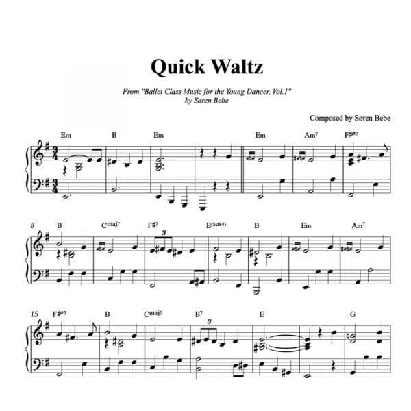 piano ballet class sheet music for a quick waltz