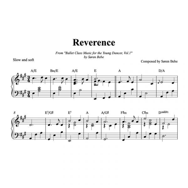 piano sheet music for reverence kids ballet class