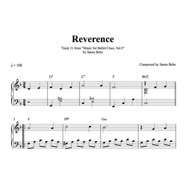 reverence piano sheet music