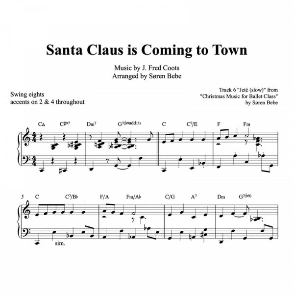 piano sheet music for Santa Claus is coming to town