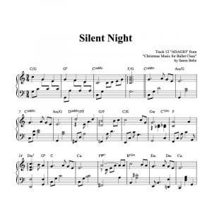piano sheet music for the Christmas song Silent Night arranged by Soren bebe