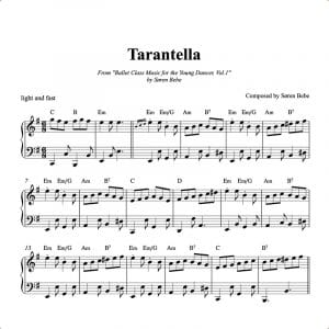 piano sheet music for a tarantella ballet class kids exercise