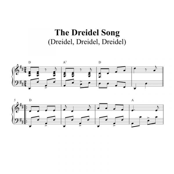 easy to play piano sheet music for the Holiday song i have a little Dreidel