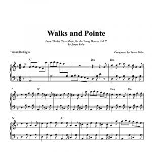 piano ballet class score for walks and pointe