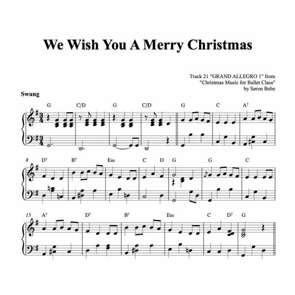 piano sheet music for we wish you a merry christmas