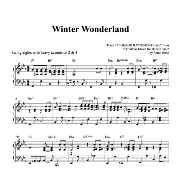 piano sheet music for the Christmas song Winter Wonderland PDF download