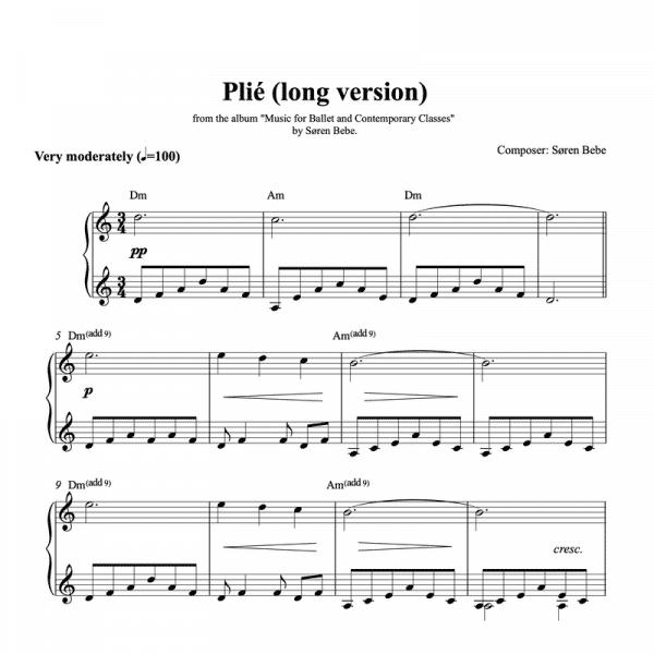 piano sheet music for a long plié ballet class exercise