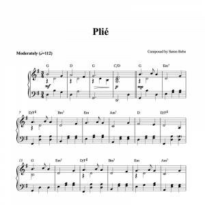 piano sheet music for plié by soren bebe