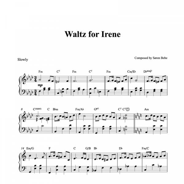 waltz for irene by soren bebe piano sheet music pdf