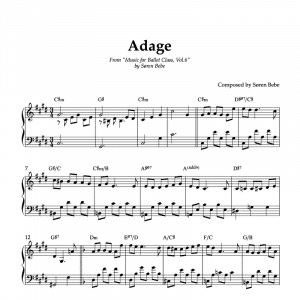 piano sheet music for adage ballet exercises