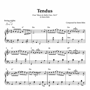 jazz inspired tendu sheet music for ballet vol.6