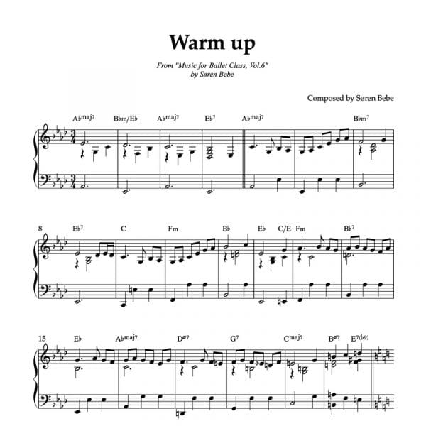 warm up sheet music for ballet