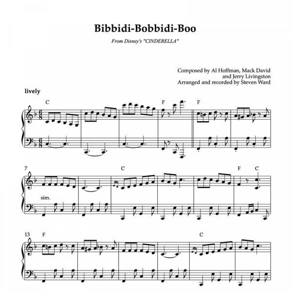 piano sheet music for disney's Bibbidi-Bobbidi-Boo to use in ballet classes