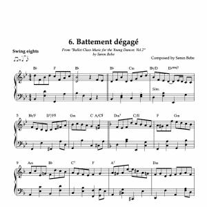 Battement dégagé piano sheet music for children's ballet class