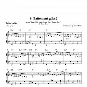 Battement glissé piano sheet music for children's ballet class