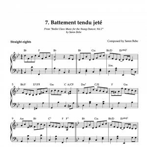 piano sheet music for Battement tendu jeté