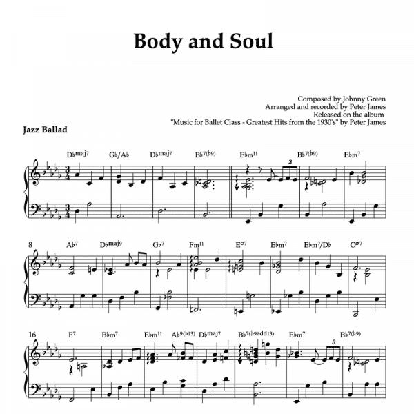piano sheet music for Body and Soul piano arrangement for ballet class plie exercise
