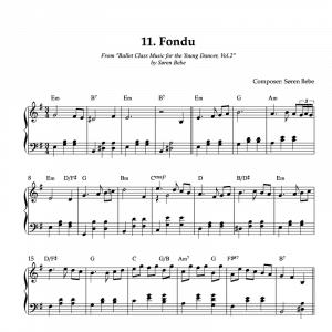 Fondu piano sheet music for children's ballet class