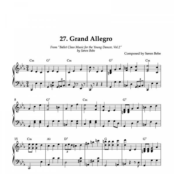 sheet music for grand allegro ballet steps