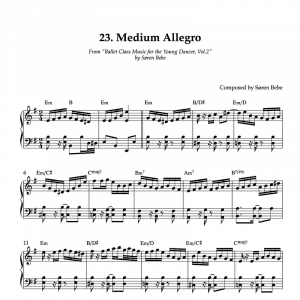 piano sheet music for medium allegro ballet class exercise
