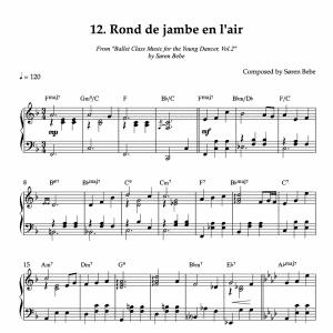 Rond de jambe en l'air piano sheet music for children's ballet class pdf