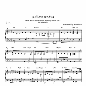 piano sheet music for slow tendus for kids