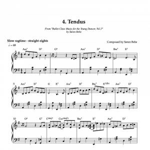 Tendus piano sheet music for children's ballet class
