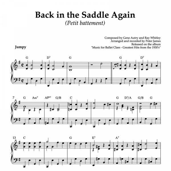 Back in the saddle again - piano sheet music for ballet class petit battement exercise