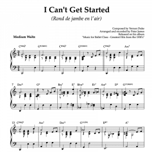 I can't get started - piano sheet music for ballet class rond de jambe en lair exercise