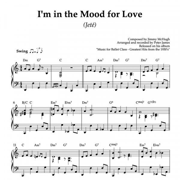 I'm in the mood for love - piano sheet music for ballet class jete exercise