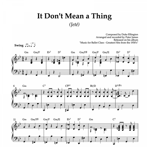 It don't mean a thing - piano sheet music for ballet class jeté exercise