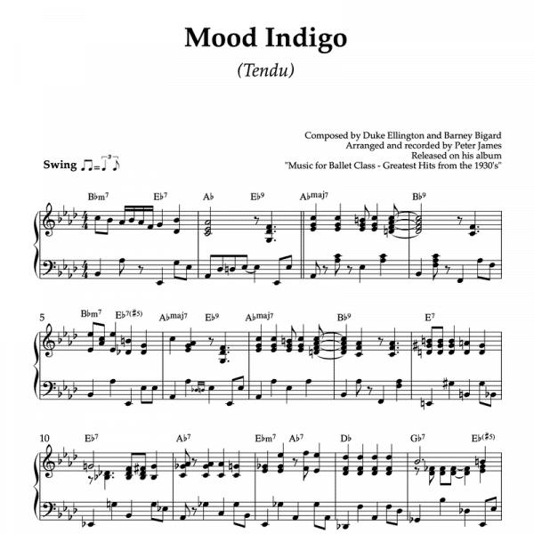 Mood indigo - piano sheet music for ballet class tendu exercise