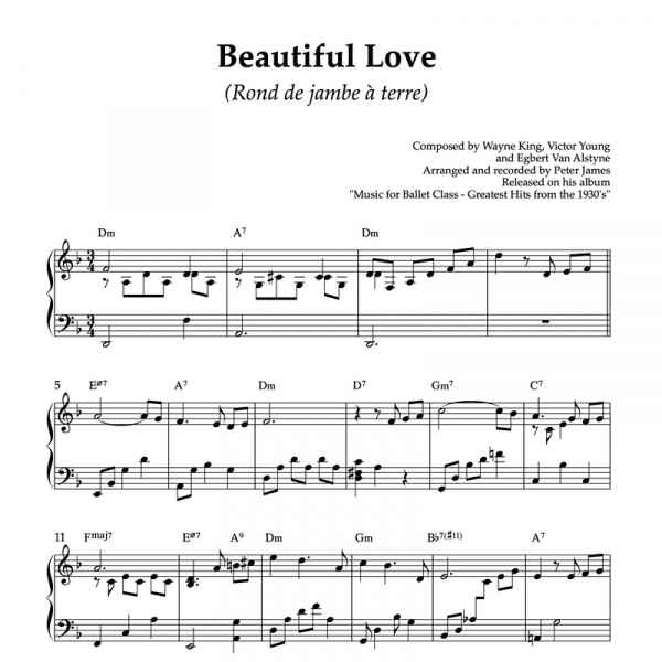 beautiful love - piano sheet music for ballet class rond de jambe a terre exercise
