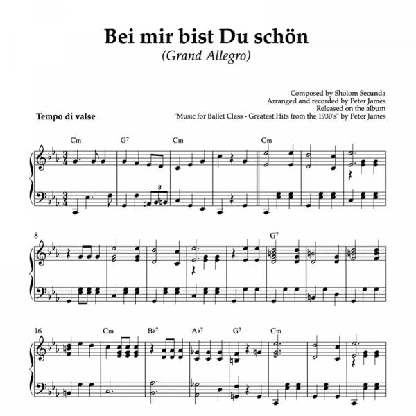 bei mir bist du schon - waltz piano arrangement for ballet class grand allegro exercise