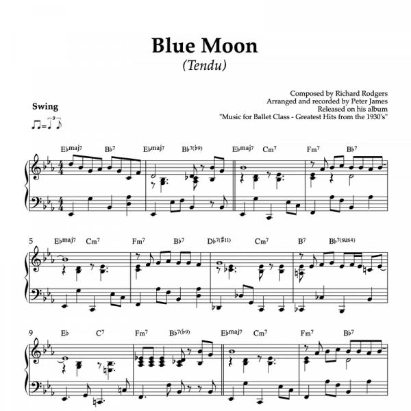 blue moon - piano sheet music for ballet class tendu exercise