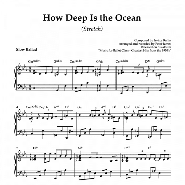 how deep is the ocean- piano sheet music for ballet class stretch exercise