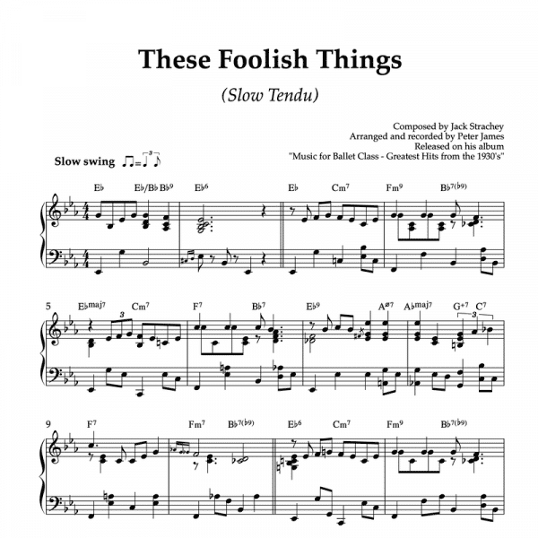 these foolish things reminds me of you - piano sheet music for ballet class slow tendu exercise