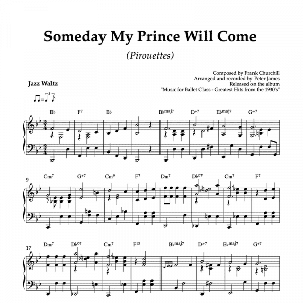 Someday my prince will come - piano sheet music for ballet class pirouette exercise
