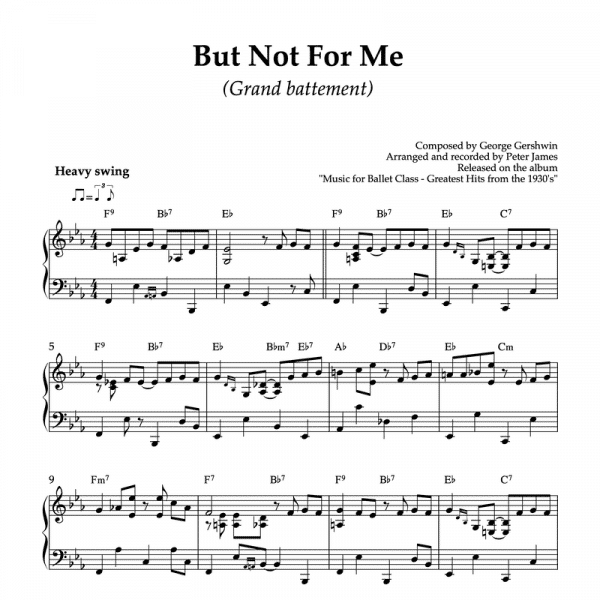 Gershwins But Not for Me in a piano arrangement for ballet class grand battement exercise