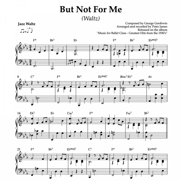 but not for me by gershwin piano arrangement for ballet class waltz exercise
